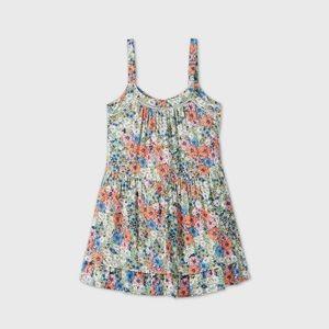 Wild Fable Floral Print Front-Button Trapeze Dress